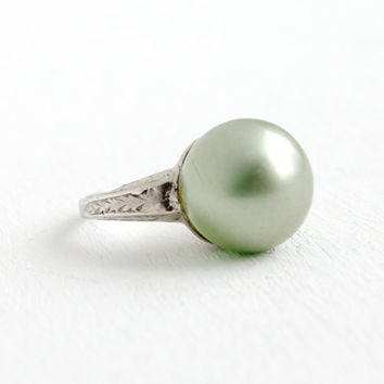 Vintage Art Deco Sterling Silver Green Simulated Pearl Ring- Size 5 1920s 1930s Etched Filigree Shoulders Statement Cocktail Jewelry