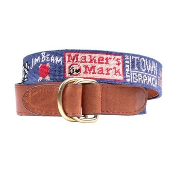 Kentucky Bourbon Trail Needlepoint D-Ring Belt in Classic Navy by Smathers & Branson