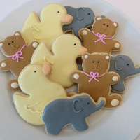 Decorated baby shower/ baby gender reveal cookie favors: teddy bears, ducks and elephants, 1 dozen