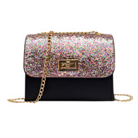 Fashion Women Leather Messenger Bag Ladies Small Crossbody Bags Women Designers Sequined Party Purse Chains Handbag Girls