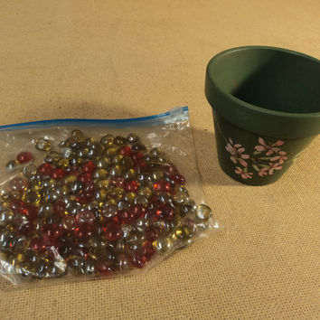 Designer Pebbles And Flower Pot Multi-Color Glass Beads Pottery -- Used