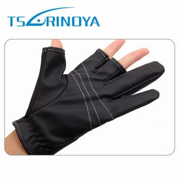 Tsurinoya Outdoor Three Fingers Hunting Fishing Gloves Palm Anti-Slip Riding Glove Black L/XL Waterproof Fishing Glove Tackle