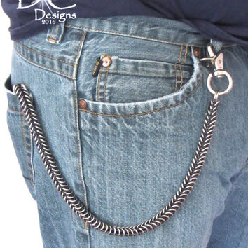 Black and Silver Wallet Chain - Black Wallet Chain - Chainmaille Wallet Chain - Mens Gifts - Biker Chain Wallet - Trucker Wallet Chain