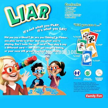 Great Family Fun Educational Toys Fibber Board Game Set - Family Fun Liar Game Stretch The Truth Your Nose May Grow 2-4 Players