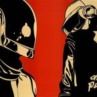 Daft Punk Helmet Red Background Music Poster Print