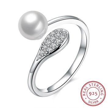Women's 925 Sterling Silver Ring Pearl Ring Jewelry