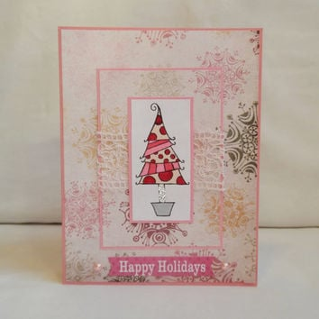 Christmas Card, Paper Handmade Greeting Card, Happy Holidays, Nontraditional Christmas, Pink Christmas, Merry Christmas, For Her, Card Shop