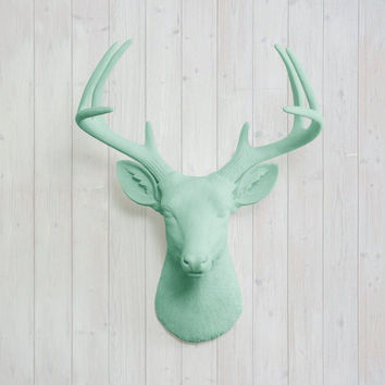 The Virginia Large Mint Green Faux Taxidermy Resin Deer Head Wall Mount | Mint Green Stag w/ Colored Antlers