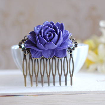 Purple Rose Flower Bridal Hair Comb, Antique Brass Art Nouveau Filigree Hair Comb. Purple Wedding Hair Comb, Bridesmaid Hair Comb