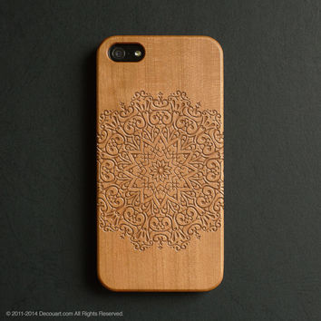 Real wood engraved mandala pattern iPhone case S007