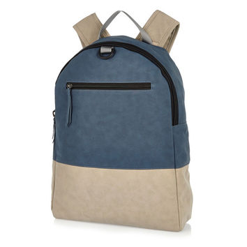 Grey and Blue Color Block One Zipper Backpack