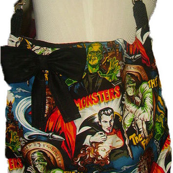 Horror Movie Frankenstein Dracula purse  Slouch Hobo Tote Handbag Travel Gym Diaper Bag School