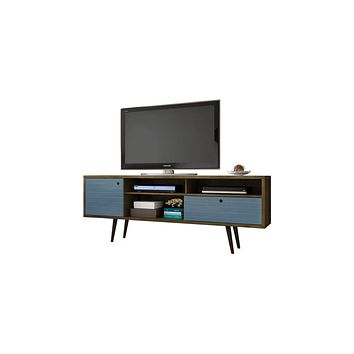 "70.86"" Mid Century - Modern TV Stand w/ 4 Shelving Spaces & 1 Drawer -Brown & Blue"