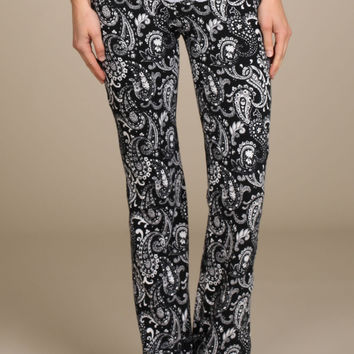 """Perfectly Paisley"" Stretch Pants-Black and White"