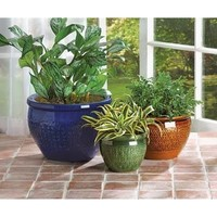 Jewel Toned Garden Flower Pot Trio