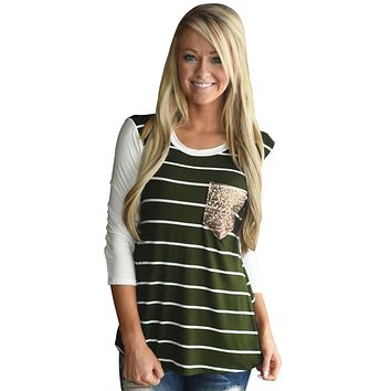 Chicloth Green White Stripe Sequin Pocket Top