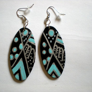 Turquoise Black and Silver Abstract wood earrings by veropaints