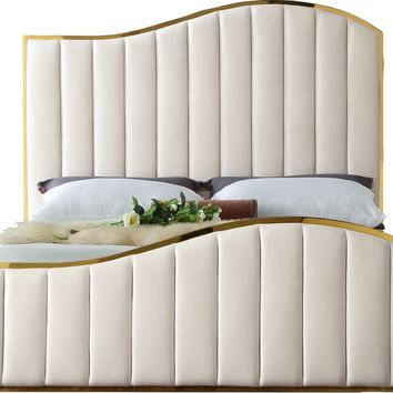Jolie Cream Velvet King Bed