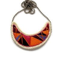 Geometric crescent pendant embroidered necklace in pretty purples peach and pinks tribal Fall fashion
