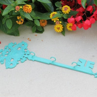 Wall hanging key holder hand-painted in Annie Sloan turquoise chalk paint
