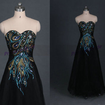 2014 long black tulle homecoming dress hot,unique ambroidered women gowns for party,cheap sweetheart prom dresses under 150.