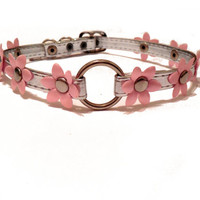 Flower Choker Collar. Pink and Silver