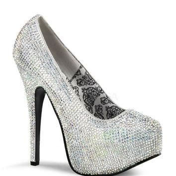 Teeze Silver Iridescent Rhinestone Platform Pump by Bordello Shoes