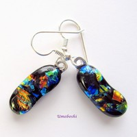 Colorful Autumn Landscape Handmade Dichroic Glass Dangle Earrings