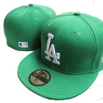 PEAPON Los Angeles Dodgers New Era MLB Authentic Collection 59FIFTY Cap Green-White LA