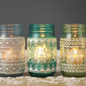 Christmas Sweater Mason Jar Candle Lanterns, Ugly Sweater Inspired Holiday Decor, Candle Holder Mason Jar Lights, Winter Centerpieces