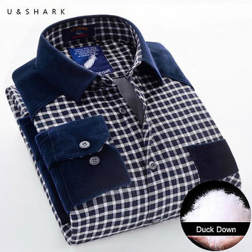 Winter Mens Slim Fit Warm Duck Down Casual Shirts Thicken Fleece Shirt Long Sleeve Male Blue Plaid Chemise Home