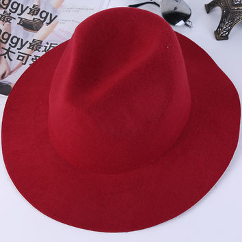 Panama Vintage Fedoras Hats for Women Men Casual Wide Brim Bowknot Winter Woolen Hat Jazz Caps 7Colors