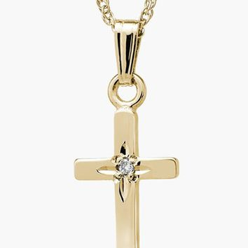 Girl's Mignonette 14k Gold & Diamond Cross Necklace - Gold