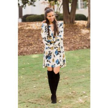Wuthering Heights Blue Floral Print Dress