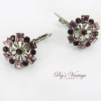 SWAROVSKI Crystal Cinderella Purple & Pink Flower Earrings, Vintage Pierced Lever Back Earrings