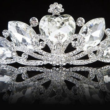 Princess Wedding Bridal Rhinestone Crystal Tiara Bride Hair Headpiece Crown (Color: White) = 1697632388