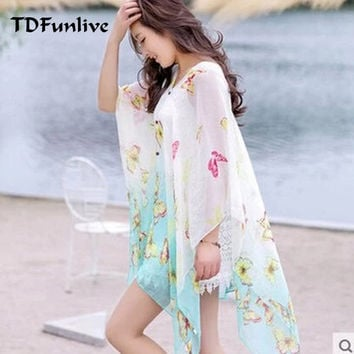 TDFunlive new summer chiffon printed loose cardigan shawl female thin beach Scarves scarf cardigan Chiffon sexy Bikini cover up