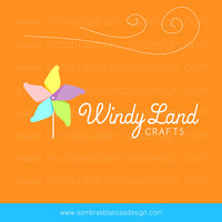 OOAK Premade Logo Design - Cheerful Pinwheel - Perfect for a crafts blog or a supplies shop