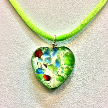 Heart pendant, double sided murano glass heart pendant, lime green silk cord and clasp, gift for her, jewelry