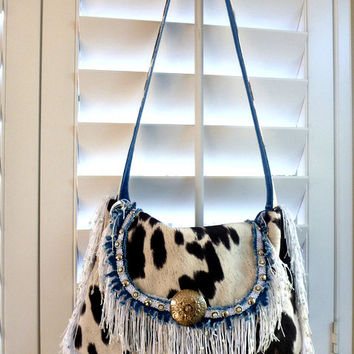 denim and faux cowhide hobo bag, boho bag,  western bag, gypsy bag, purse, western wedding, fall wedding, fall fashion, shoulder bag