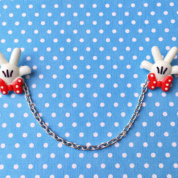 """Handmade """"Large Minnie Hands"""" Collar Clips or Sweater Guards - Minnie Mouse Style"""