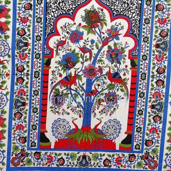 Indian Peacock Tree Tapestry.   Tree Of Life Tapestry ,Peacock tree Of life ,Bohemian Tapestry,Indian Bedspread