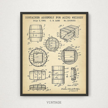 Whiskey Print, Container Assembly For Aging Whiskey Patent, Bar Decor, Whiskey Art Print, Liquor Spirits Drinks Wall Art, Whiskey Gifts