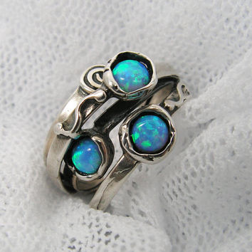 Sterling silver opals unique design ring (sr-9910). unique birthday gifts, opal jewelry, gift for her