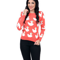 Coral Long Sleeve Ducky Sweater
