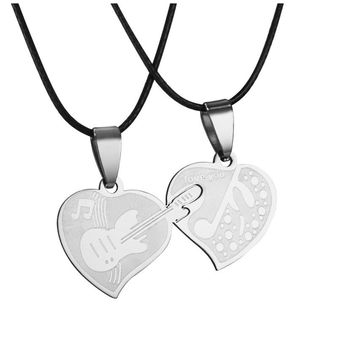 Couple Lovers Stainless Steel Love Heart Puzzle Necklaces & Pendants
