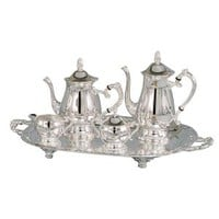 5 PIECE ROMANTICA COLLECTION SILVER COFFEE SET - JafGifts.com
