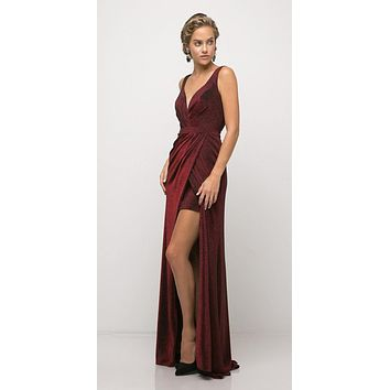 Ruched V-Neck Evening Gown with Front Slit Burgundy