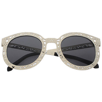 Silver Cut-Out Frame Round Sunglasses