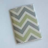 Passport Cover / Holder / Case - Chevron - Zig Zag - ZigZag - Natural Reed Gray green